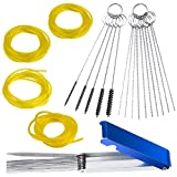 4 pcs Fuel Line and 3 Carburetors Carbon Dirt Jet Remove Cleaner, FineGood Cleaning Wires Needles Nylon Brushes Set, with 4 Sizes Hose Tube for Weedeater Chainsaw Motorcycle ATV Moped Welder Carb