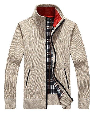 Vcansion Men's Classic Long Sleeve Full Zip up Plus Warm Knitted Fleece Wool Cardigan Sweaters Jacket Coats Beige (Plaid Warm Fleece Jacket Coat)