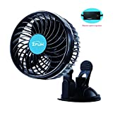"""ZFLIN Car Fan Vehicle Fan Adjustment Suction Cup Car Auto Cooling Air Fan Powerful Quiet Stepless Speed Change Rotatable 12V Car Fans Summer Cooling Air Circulator (Stepless 6"""" 12V)"""