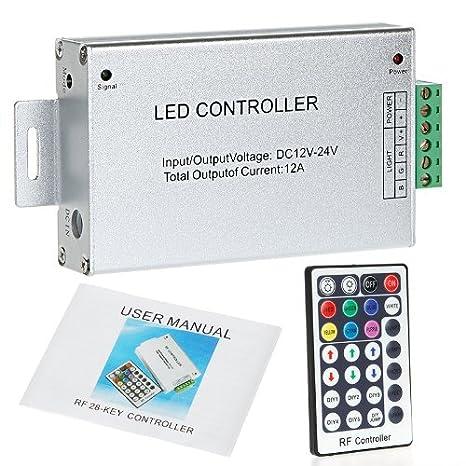 Newsky RGB RF inalámbrico 28 llave mando a distancia regulador de intensidad de luz LED String aluminio 12 - 24 V: Amazon.es: Iluminación