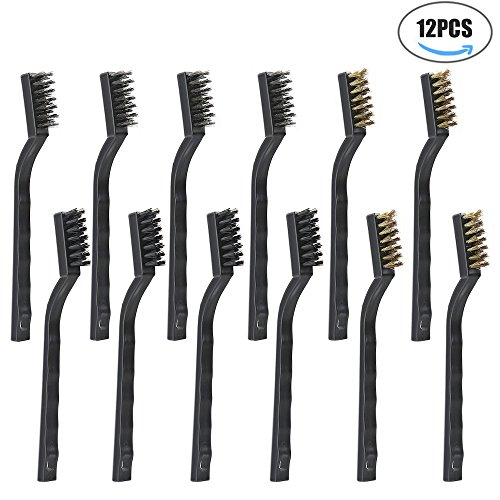 KISENG 12 piecesWire Brush(Stainless Steel + Brass+Nylon),Scratch Brush for Cleaning Welding Slag and Rust