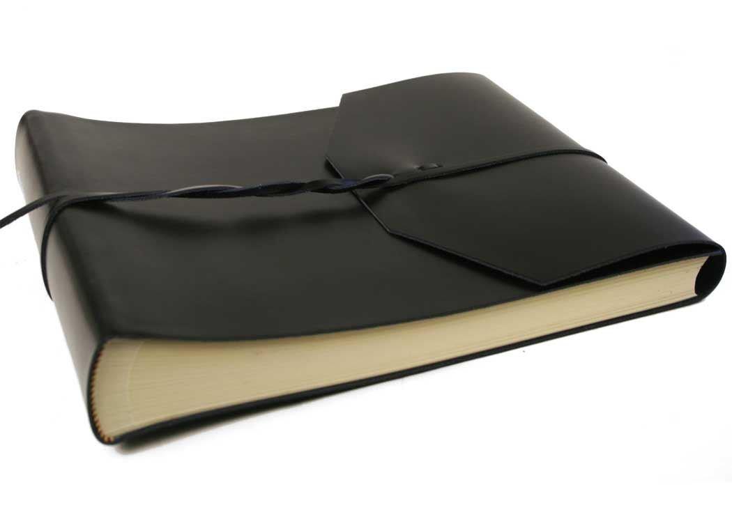 Positano Large Black Handmade Leather Wrap Photo Album, Classic Style Pages (30cm x 24cm x 6cm) by LEATHERKIND