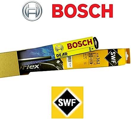 SWF 119763 + Bosch H450 Juego completo original Limpiaparabrisas delantero + trasero + 2 Gomas de Repuesto + 2 T10 Lámpara