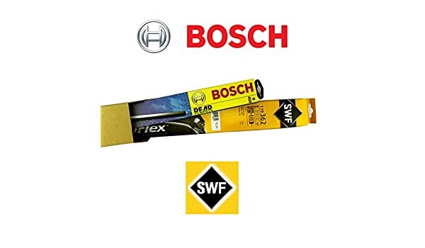 SWF 119383 + Bosch H405 Juego completo original Limpiaparabrisas delantero + trasero + 2 Gomas de Repuesto + 2 T10 Lámpara: Amazon.es: Coche y moto