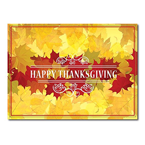 """Thanksgiving Greeting Card TH1602. Send this card to say """"thank you for your business"""" as well as wish your clients a wonderful holiday season. Gold foil-lined envelopes."""