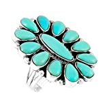Southwest Style Ring Sterling Silver Genuine Turquoise & Gemstones (SELECT COLOR)