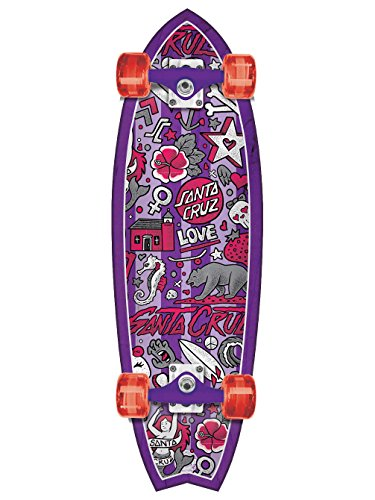 Santa Cruz Skateboards Doodle Shark Mid Standard Skateboard, 9.75 x 32.92″, Multicolor