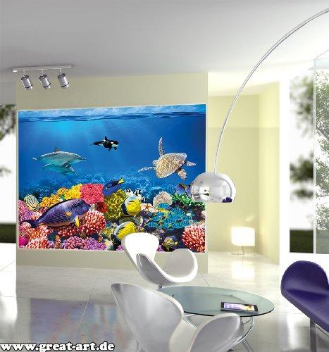Undersea coral reef photo wall paper – aquarium fish sea mural – XXL ...