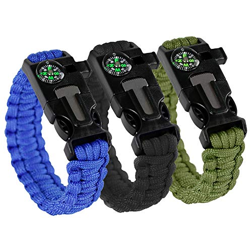 Savage Survival Supply 3 Pack Paracord Bracelet Multi