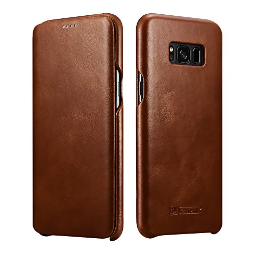 Price comparison product image Galaxy S8 Plus Leather Case, Icarercase Genuine Vintage Leather Flip Folio Opening Cover in Curved Edge Design, Side Open Case with Hidden Magnetic Snap for Samsung Galaxy S8 Plus 6.2 Inch (Brown)