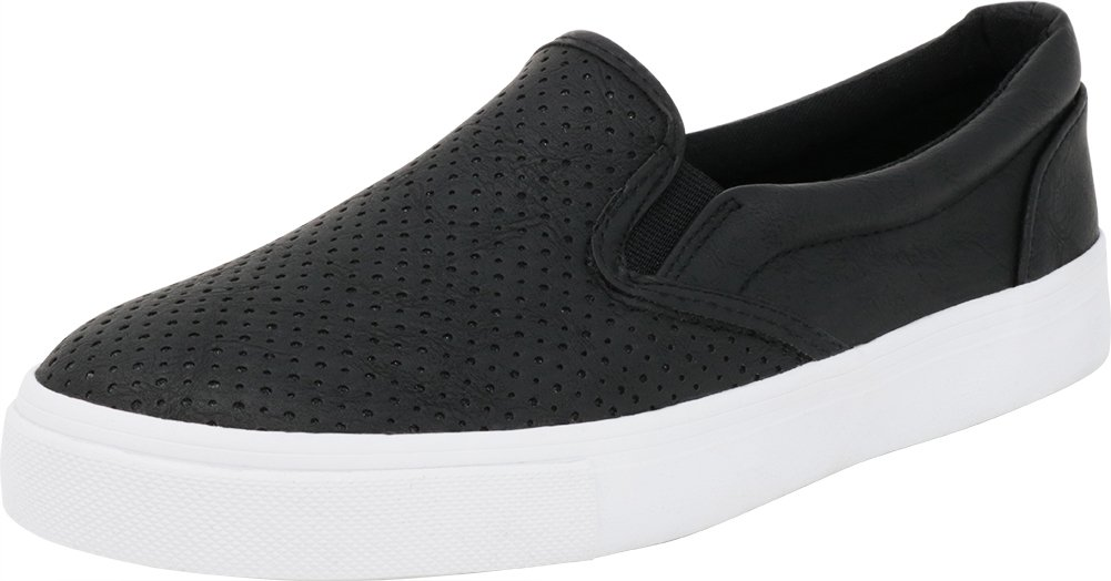 Cambridge Select Women's Slip-On Closed Round Toe Perforated Laser Cutout White Sole Flatform Fashion Sneaker B07BWSC7HK 11 B(M) US|Black Pu