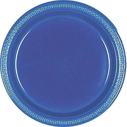 Amscan Navy Blue Round Plastic Plates, 9