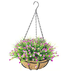 Lopkey Plastic Baby's breath flowers Gypsophila Artificial flower Outdoor Indoor Patio Lawn Garden Hanging Basket with Chain Flowerpot,Purple 99