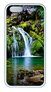 iPhone 5 5S Case Green landscape with waterfall TPU Custom iPhone 5 5S Case Cover White