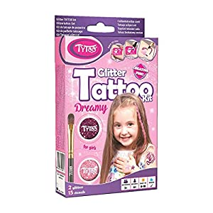 Tytoo Kit de Tatouage à Paillettes pour Filles, avec 15 modèles Inclus. Hypoallergénique, Durable Jusqu'à 18 Jours