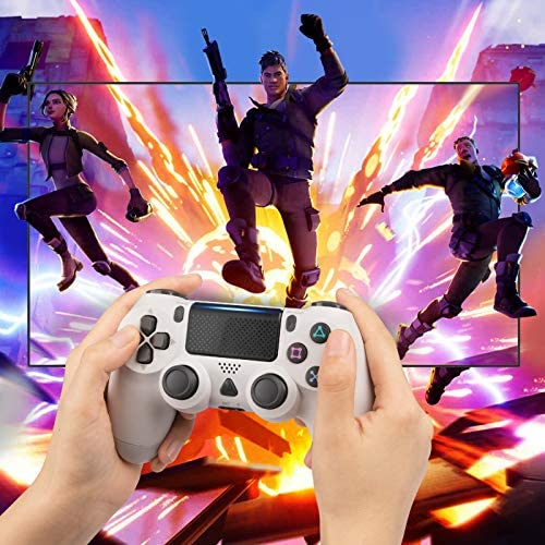 YCCTEAM Wireless Game Controller Compatible with PS4 Console/iOS 13 /Android 10 /MAC/PC (White)