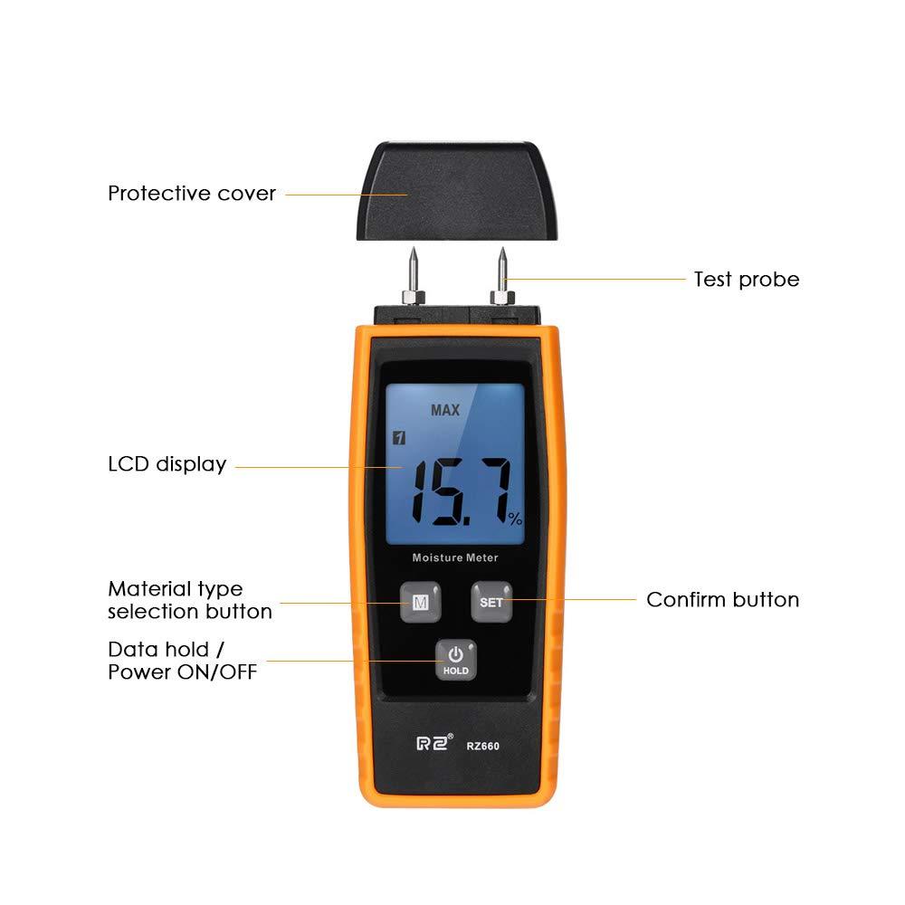 Analysatoren Rz660 Holz Feuchtigkeit Meter 0-80% Zwei Pin Lcd Display Digital Holz Feuchtigkeit Tester Feuchtigkeit Meter