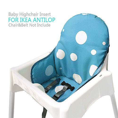 Ikea Antilop Highchair Seat Covers & Cushion by AT, Washable Foldable Baby Highchair Cover Ikea Childs Chair Insert Mat Cushion (Blue)