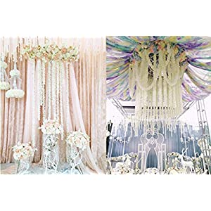 Lannu 5 Pack 13 FT Artificial Hydrangea Flower Vine Wisteria Garland Vines Cattleya Flowers Plants for Home Wedding Party Decor, Cream 2