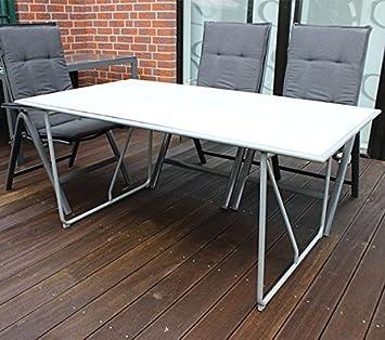 Gartentisch Glas Terrassentisch Esstisch Aluminium Alu Tisch 160x90