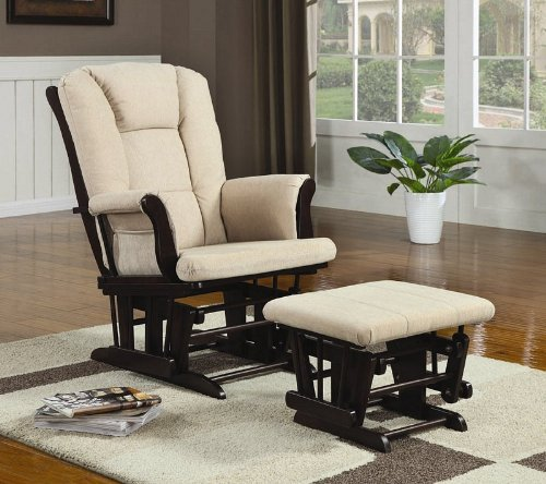 Glider with Ottoman in Beige Microfiber by Coaster Home Furnishings