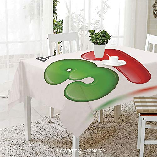 Large dustproof Waterproof Tablecloth,Family Table Decoration,31st Birthday Decorations,3D Style Volume Figure Number 31 Greeting Celebration Theme,Green Red White,70 x 104 inches ()