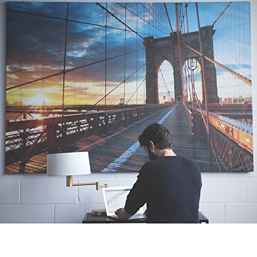 Large Brooklyn Bridge Picture with Frame Canvas Color Sunrise 55 x 79 Inches Extra Large Wall Photo Art