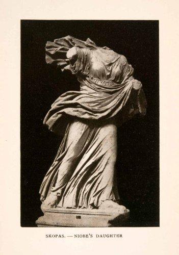 Greek Statue Costumes (1905 Photolithograph Skopas Niobe's Daughter Statue Costume Art Greek Mythology - Orig. Photolithograph)
