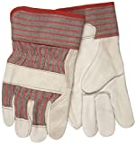 MCR Safety 1930S Grain Cowhide Leather Palm Industry Grade Men's Gloves with 2-1/2-Inch Rubberized Safety Cuffs, Cream, White, Small, 1-Pair