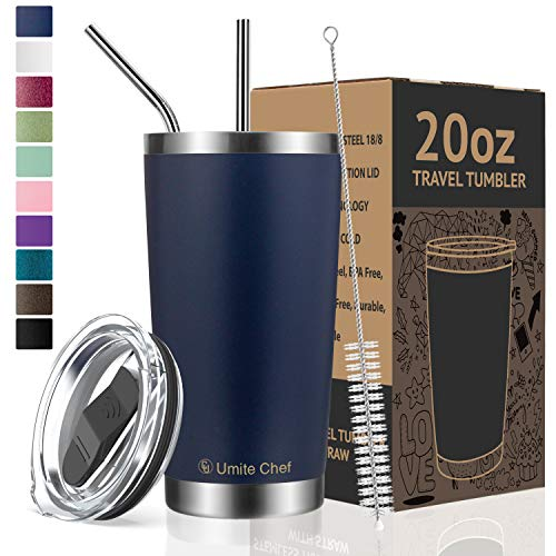 Umite Chef 20oz Tumbler Double Wall Stainless Steel Vacuum Insulated Travel Mug with Lid, Insulated Coffee Cup, 2 Straws, for Home, Outdoor, Office, School, Ice Drink, Hot Beverage (20 oz, Navy) (Best Insulated Coffee Tumbler)