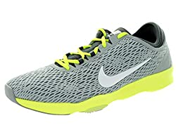 Nike Women's Zoom Fit Wolf Grey/White/Dark Grey/Volt Training Shoe 6 Women US