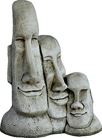 DEGARDEN AnaParra Figura Decorativa Cabezas de Pascua Moai de hormigón-Piedra para jardín o Exterior 56cm.: Amazon.es: Jardín