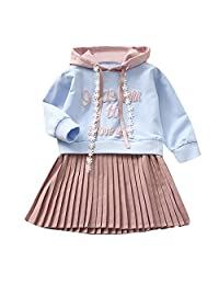 Jarsh Toddler Kids Baby Girl Letter Hooded Princess Dress Sweatshirt Clothes