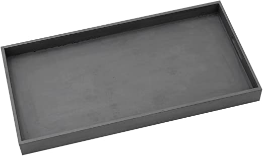 #10965 Deko Tablett Serviertablett Holz Grau Weiss Griffe Country Home Shabby
