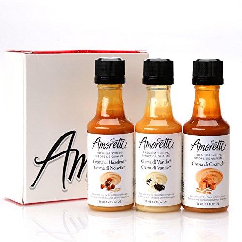 - Amoretti Premium Creamy Classic Syrups 50ml 3 Pack (Crema Di Vanilla, Crema Di Caramel, Crema Di Hazelnut)