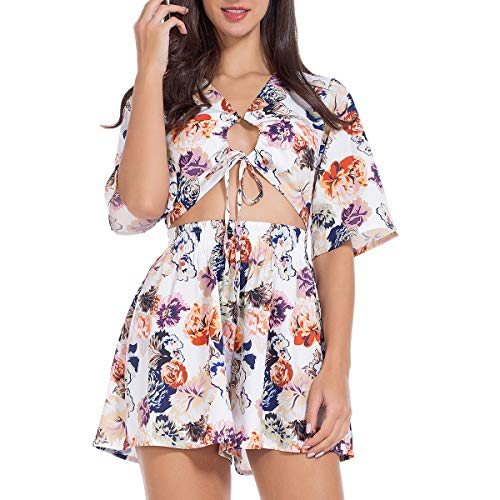 - Sexy Summer Romper Cut Out Short Sleeve V Neck Floral Jumpsuits One Piece Beach Swimwear Rompers for Women