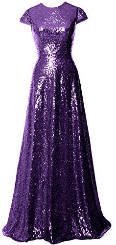 Dress Sequin Cap MACloth Violett Sleeves Long Mother Bride Bridesmaid of Women the Gown xqx4RYAPw