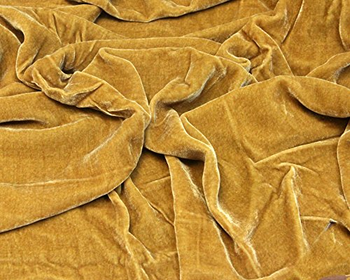 """- 100% SILK VELVET SOLID FABRIC 45""""W CLOTHING,DRAPERY,DRESSES 30 COLOR BY THE YARD (GOLD)"""