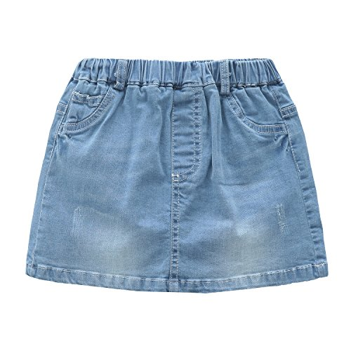 Grandwish Little Girls Solid Color Denim Skort 4T (4t Denim Skirt)