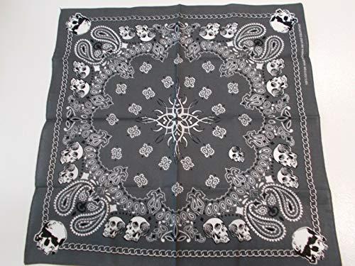 Gray Black White Tribal Center w Skulls Paisley Chain Trim Bandana Scarf KEZ-103 ()