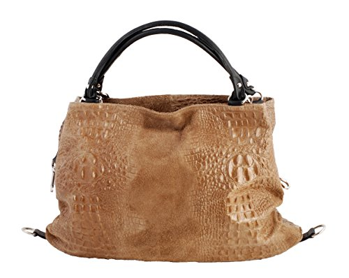 SLINGBAG Shopper XL/borsa a tracolla Gelsomino in vera pelle in marrone Kaki