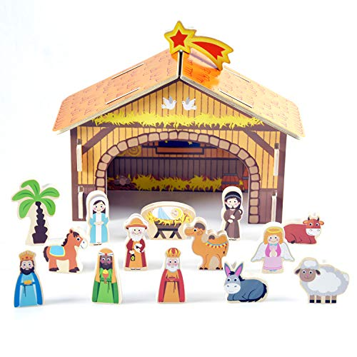 Wooden Christmas Advent Nativity Set for Kids, with Nativity Creche, Jesus, Mary, Joseph, 3 Wise Men, 21 Piece/pcs -