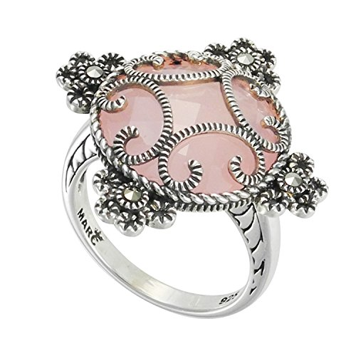 - Aura 925 Sterling Silver Ice Rose Quartz and Marcasite Ring Size #7