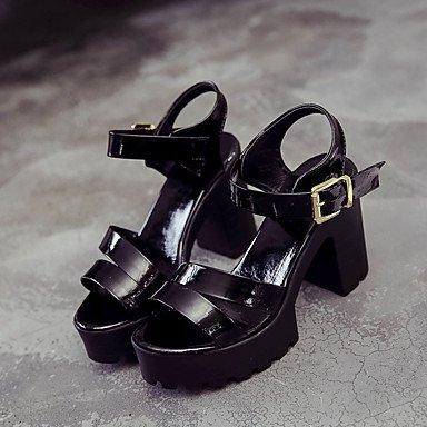 LvYuan Mujer Sandalias Confort Goma Verano Paseo Confort Hebilla Tacón Robusto Blanco Negro Menos de 2'5 cms Black