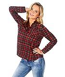 KRISP Tartan Print V-Neck Shirt (Red [5499], US 10/UK 14),[5499-RED-14]