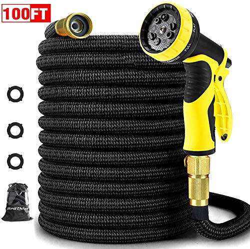 BruRkim Garden Hose 100FT,Expandable Water Hose with Metal 9 Function Spray Nozzle, Double Latex Core, 3/4″ Solid Brass Fittings, Extra Strength Fabric – Flexible Expanding Hose for Outdoor Lawn Car