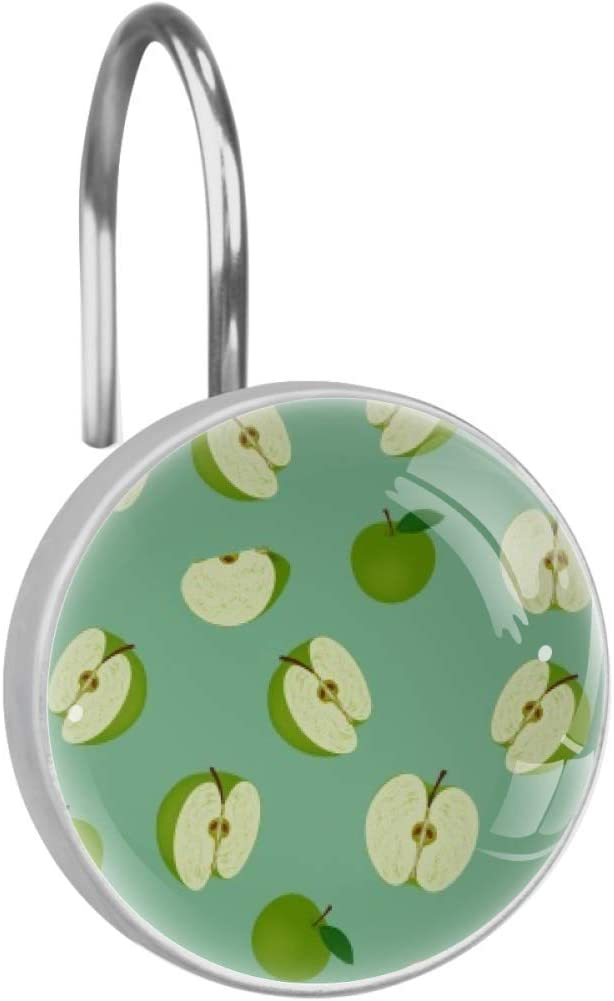LORVIES Green Apple Split in Half Shower Curtain Hooks Set of 12, Stainless Steel Shower Hooks Decorative Hanger Rings Rust Resistant for Bathroom Kids Room Fashion Home Decor