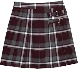 French Toast School Uniform Girls Plaid Pleated Scooter w/ Side Buckle Accent, Burgundy Plaid, 20-1/2 Plus