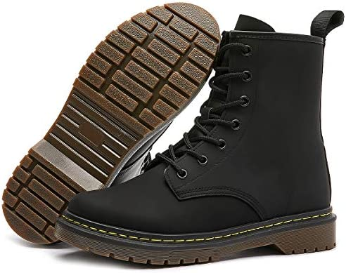 Shupua Women's Combat Boots Fashion Casual Ankle Boots Black Leather Boots