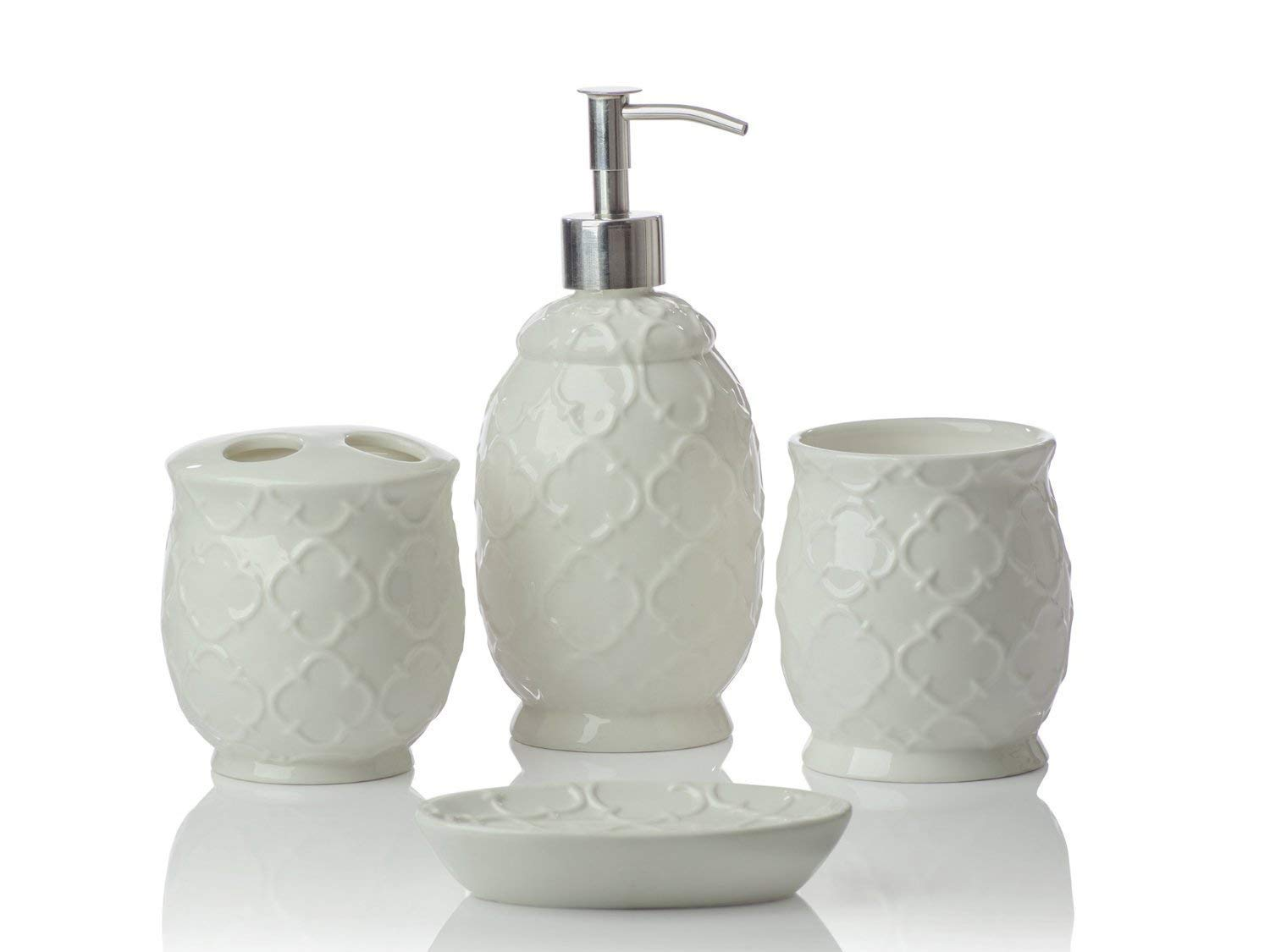 Designer 4-Piece Ceramic Bath Accessory Set | Includes Liquid Soap or Lotion Dispenser w/Toothbrush Holder, Tumbler, Soap Dish | Moroccan Trellis | Contour White